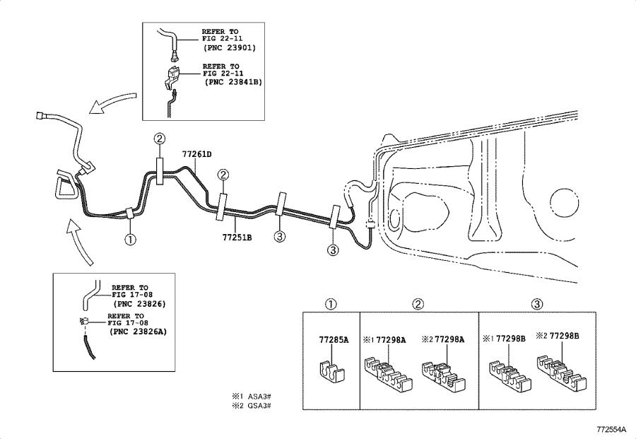 Toyota Rav4 Evaporative Emissions System Lines  Tube  Fuel Tank To Canister