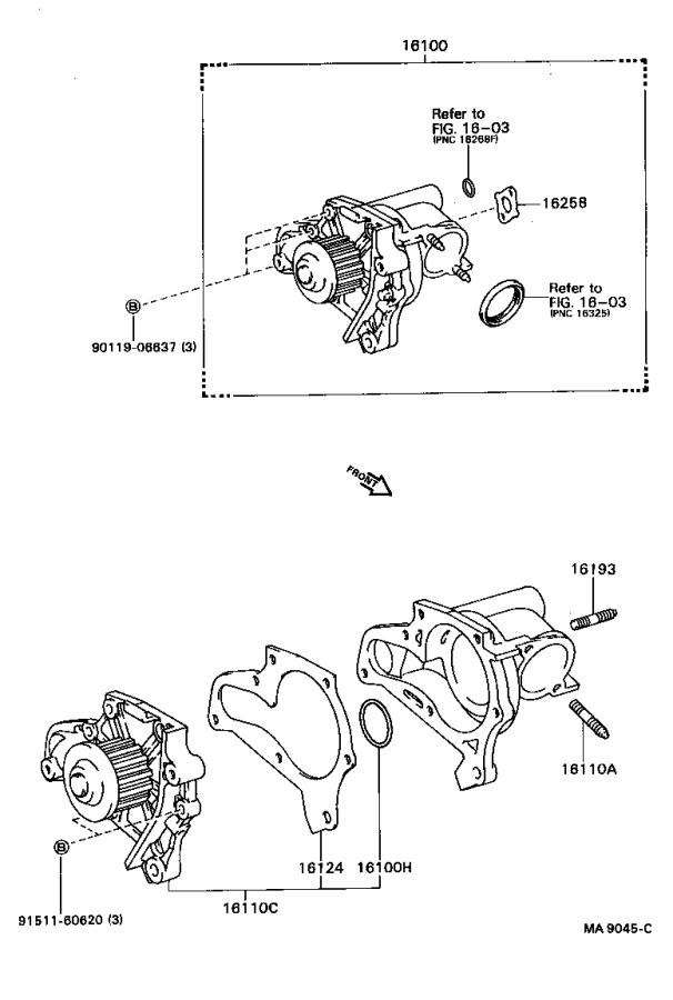 Toyota Camry Gasket For Heater Return   Engine  Water